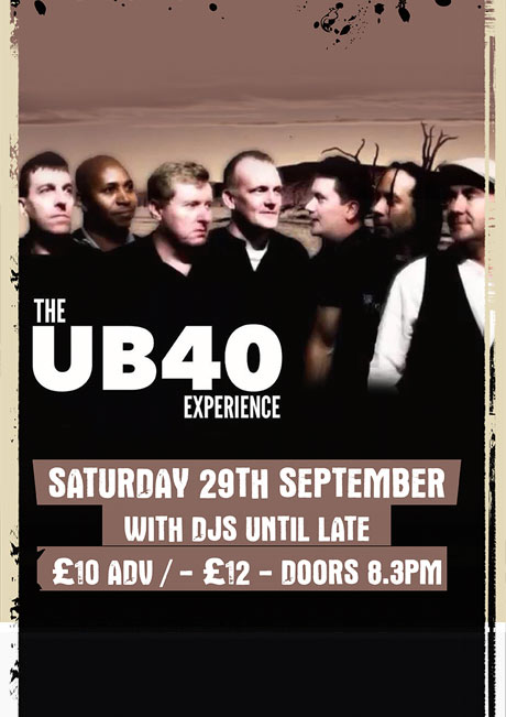 UB40 EXPERIENCE - SAT 29TH SEPT